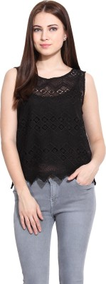 Hook & Eye Casual Sleeveless Self Design Women's Black Top