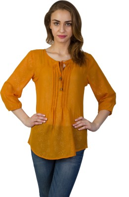 Today Fashion Casual 3/4 Sleeve Solid Women's Orange Top