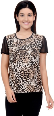 Lamora Casual Short Sleeve Animal Print Women's Black Top