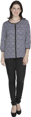 French Creations Casual 3/4 Sleeve Printed Women's Blue Top