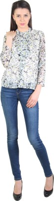 E Syrus Casual Full Sleeve Printed Women,s White Top