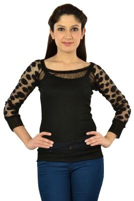 V2k Fashion Casual Sleeveless Self Design Women's Black Top