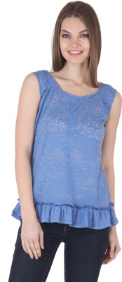 Rrajsee Casual Sleeveless Solid Women's Blue Top