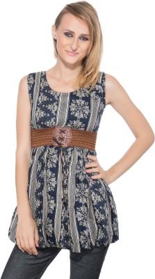 Membooz Casual, Party Short Sleeve Self Design Women's Blue, Beige Top