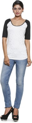 Five Stone Formal Short Sleeve Printed Women's White Top