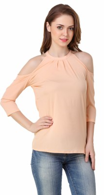 Big Pout Party 3/4 Sleeve Solid Women's Beige Top