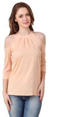 BrandMeUp Casual, Party, Formal, Beach Wear, Festive, Lounge Wear 3/4 Sleeve Solid Women's Beige Top