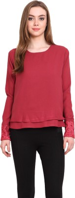 Desi Urban Casual Full Sleeve Solid Women's Maroon Top