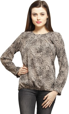 Color Cocktail Casual Full Sleeve Printed Women's Beige Top