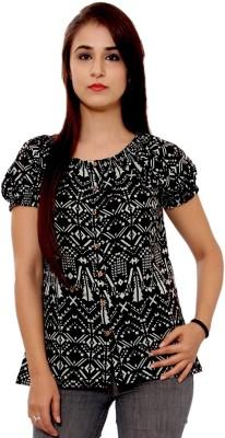 GMI Casual Short Sleeve Printed Women's Black Top