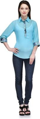 Glamdiva Lounge Wear 3/4 Sleeve Solid Women's Light Green Top