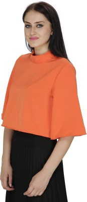 FASHMODE Casual 3/4 Sleeve Solid Women's Orange Top