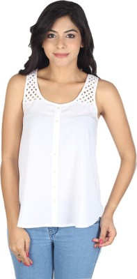 So Urban Casual Sleeveless Solid Women's White Top