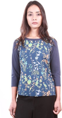 AR2 Casual 3/4 Sleeve Printed, Solid Women's Blue Top