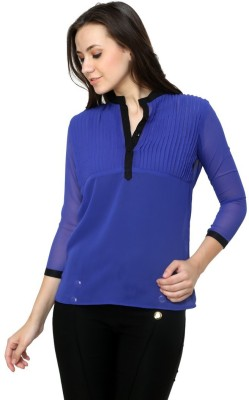 99Hunts Casual 3/4 Sleeve Solid Women's Blue Top