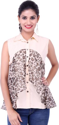 Fbbic Casual Sleeveless Animal Print Women's White Top