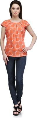 Glamdiva Casual Short Sleeve Geometric Print Women's Orange, White Top