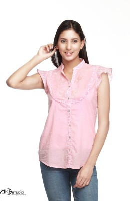Guapa Spain Women's Embroidered Casual Pink Shirt