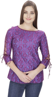 Pops N Pearls Casual 3/4 Sleeve Embroidered Women's Purple Top