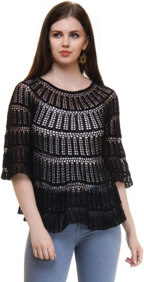 The Crochet Company Casual Bell Sleeve Solid Women's Black Top