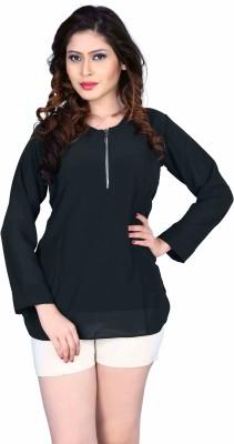 Aasvaa Casual 3/4 Sleeve Solid Women's Black Top