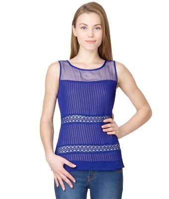 Latin Quarters Casual Sleeveless Striped Women's Dark Blue Top