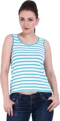 Rat Trap Casual Sleeveless Striped Women's Blue, Beige Top
