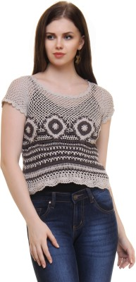 The Crochet Company Casual Short Sleeve Self Design Women's Grey Top
