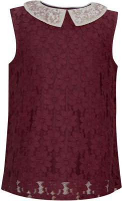 The Cranberry Club Casual Sleeveless Embellished Girl's Brown Top