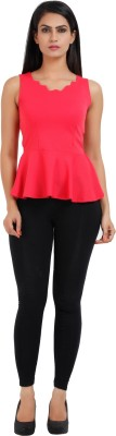 Prnas Casual Sleeveless Solid Women's Pink Top