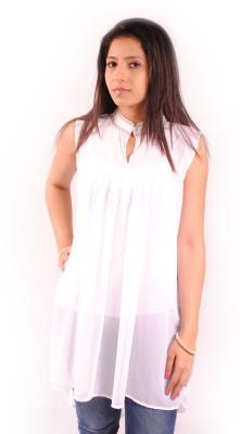 Natty India Casual Sleeveless Solid Women's White Top