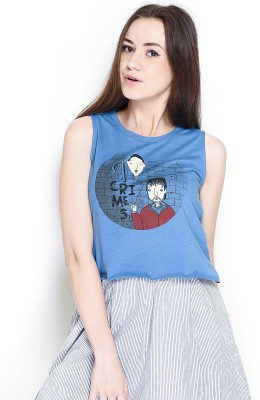 The Glu Affair Casual Sleeveless Printed Women's Blue Top