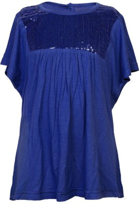 Soul Fairy Party Butterfly Sleeve Embellished Girl's Blue Top