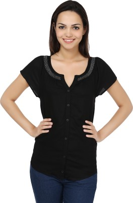 U&F Casual Short Sleeve Solid Women's Yellow Top