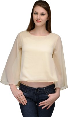 Natty India Casual Kimono Sleeve Solid Women's Beige Top