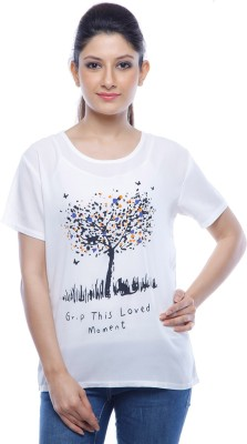 Designeez Casual Short Sleeve Printed Women's White Top