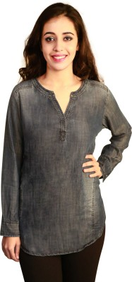 Terquois Casual Full Sleeve Solid Women's Blue Top