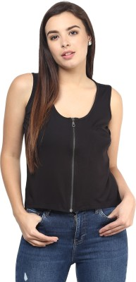 Rockland Life Casual Sleeveless Solid Women's Black Top