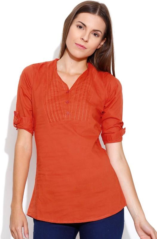 Shopaholic Casual 3/4th Sleeve Solid Women's Orange Top