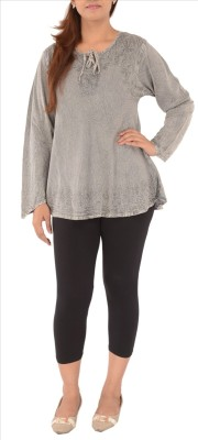 Skirts & Scarves Casual Full Sleeve Embroidered Women's Grey Top