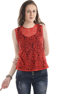 Ausehen Casual Sleeveless Solid Women's Red Top