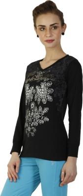 Duke Stardust Casual Full Sleeve Printed Women's Black Top