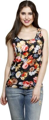 Dhrohar Casual Sleeveless Floral Print Women,s Black Top