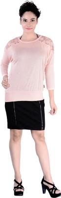 Divaz Fashion Casual, Party 3/4 Sleeve Solid Women's Pink Top