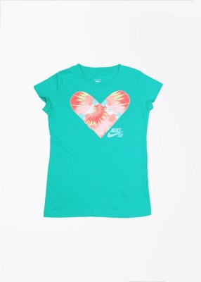 Nike Action Casual Short Sleeve Printed Girl's Green Top