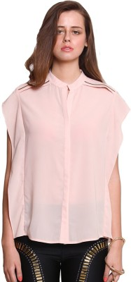 Zink London Casual Cape Sleeve Solid Women's Pink Top
