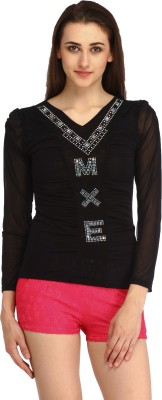 Star Style Casual Full Sleeve Solid Women's Black Top
