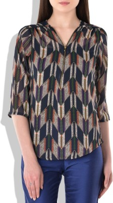 London Off Casual 3/4 Sleeve Graphic Print Women's Multicolor Top