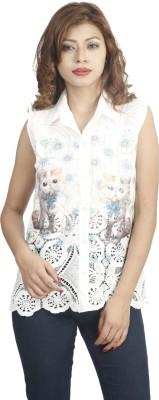 Naitik Casual Sleeveless Printed Women's White, Blue Top
