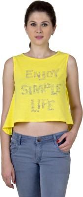 Jprana Casual Sleeveless Printed Women's Yellow Top